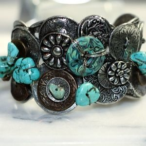 Chico Navajo Turquoise Sterling Silver Cuff  Brace